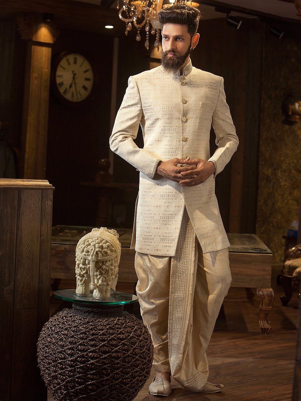 Cream designer silk indo western men pinterest westerns silk