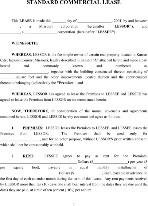 free commercial lease agreement template download - standard commercial lease agreement templates forms