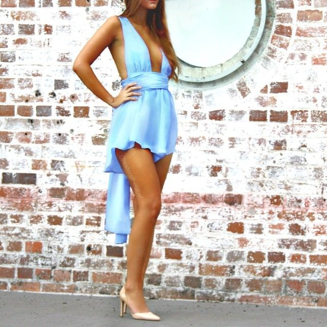 2f70577010d Pure silk Multiway Playsuit in Vienna Sky. Sisters The Label