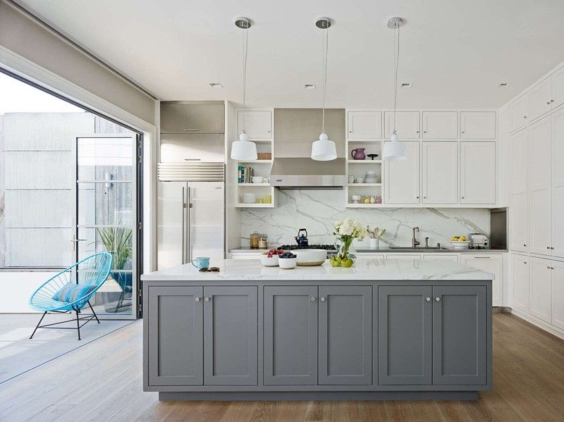 grey white tranditional style kitchen shaker cabinets contrasting island marble pendant on kitchen ideas white and grey id=71192
