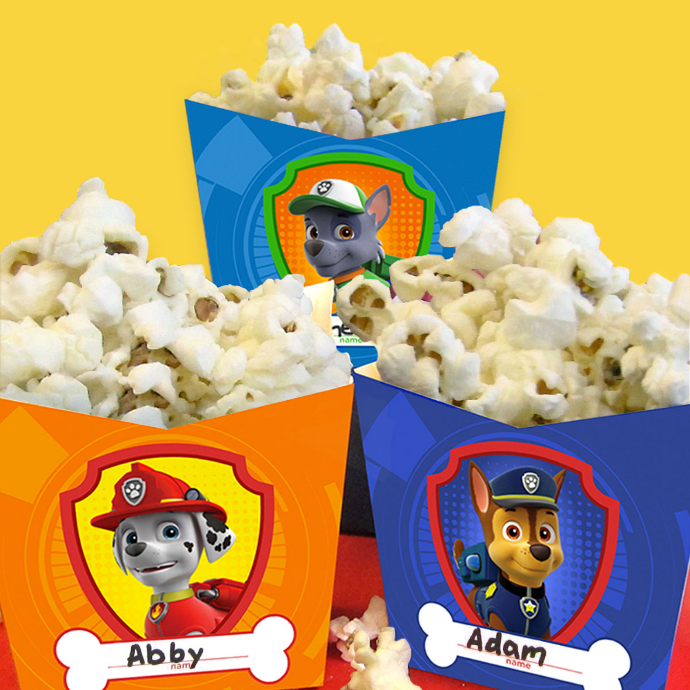 PAW Patrol Pupcorn Holders Craft - Paw patrol party decorations, Popcorn holder, Tmnt birthday, Blaze birthday party, Skye birthday party, Blaze birthday - Is you're little one watching a movie  Complete the viewing experience with some good oldfashioned pupcorn! Print these templates out on card stock or hea