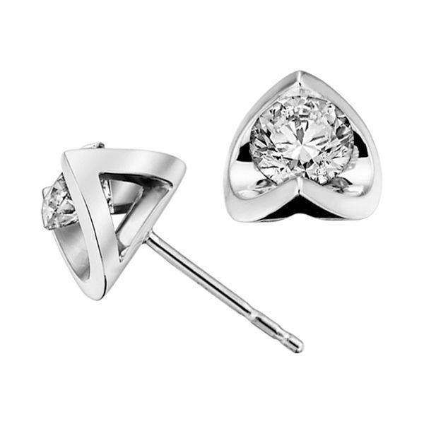 White Gold Half Moon Diamond Studs Online In Canada