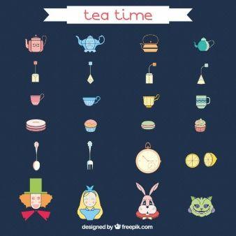 Ícones hora do chá
