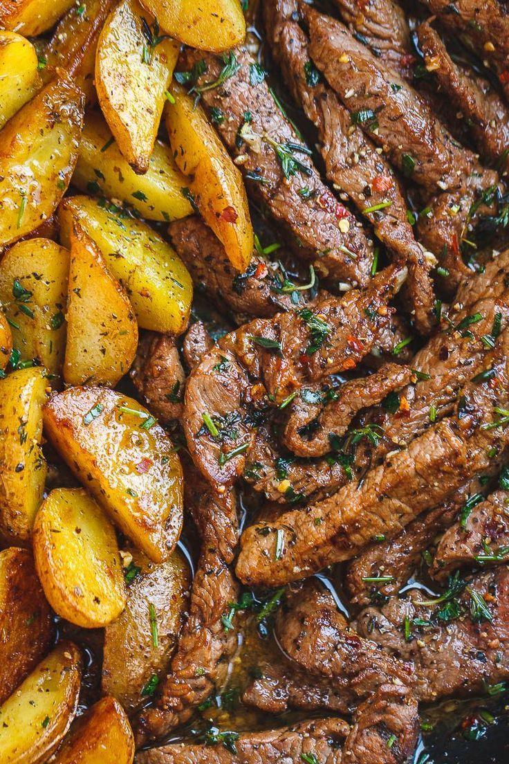 Garlic Butter Steak and Potatoes Skillet   - Favorite Recipes - Hauptgerichte, Beilagen -