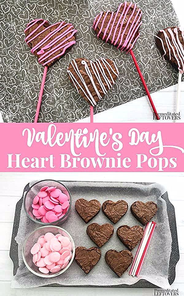Sweet and simple this Valentines Day Heart Brownie Pops Recipe is great for dessert, school partie