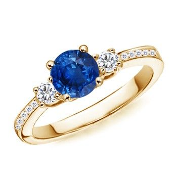 Angara Three Stone Sapphire and Diamond Ring in Yellow Gold DL4bCjLm