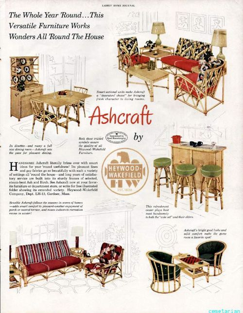 Vintage Ashcraft By Heywood Wakefield Rattan Furniture Ad Wakefield Furniture Heywood Wakefield Furniture Patio Furniture Redo