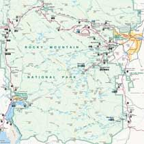 Rocky Mountain National Park Map includes park roads, trails, lakes ...