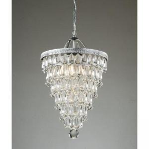 Cone Shape 4-light Matte Silver Crystal Chandelier