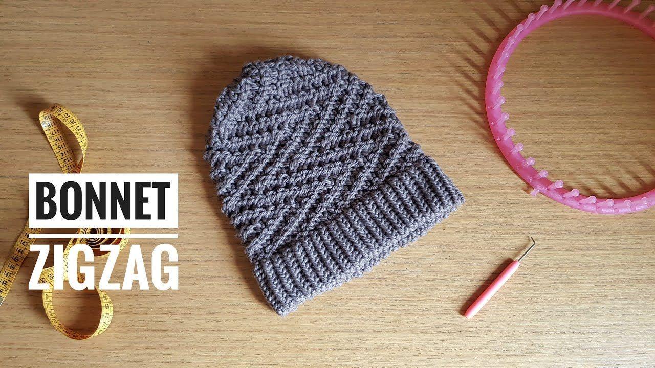 Comment tricoter un bonnet souple au tricotin en ZigZag facile - YouTube (avec images) | Comment ...