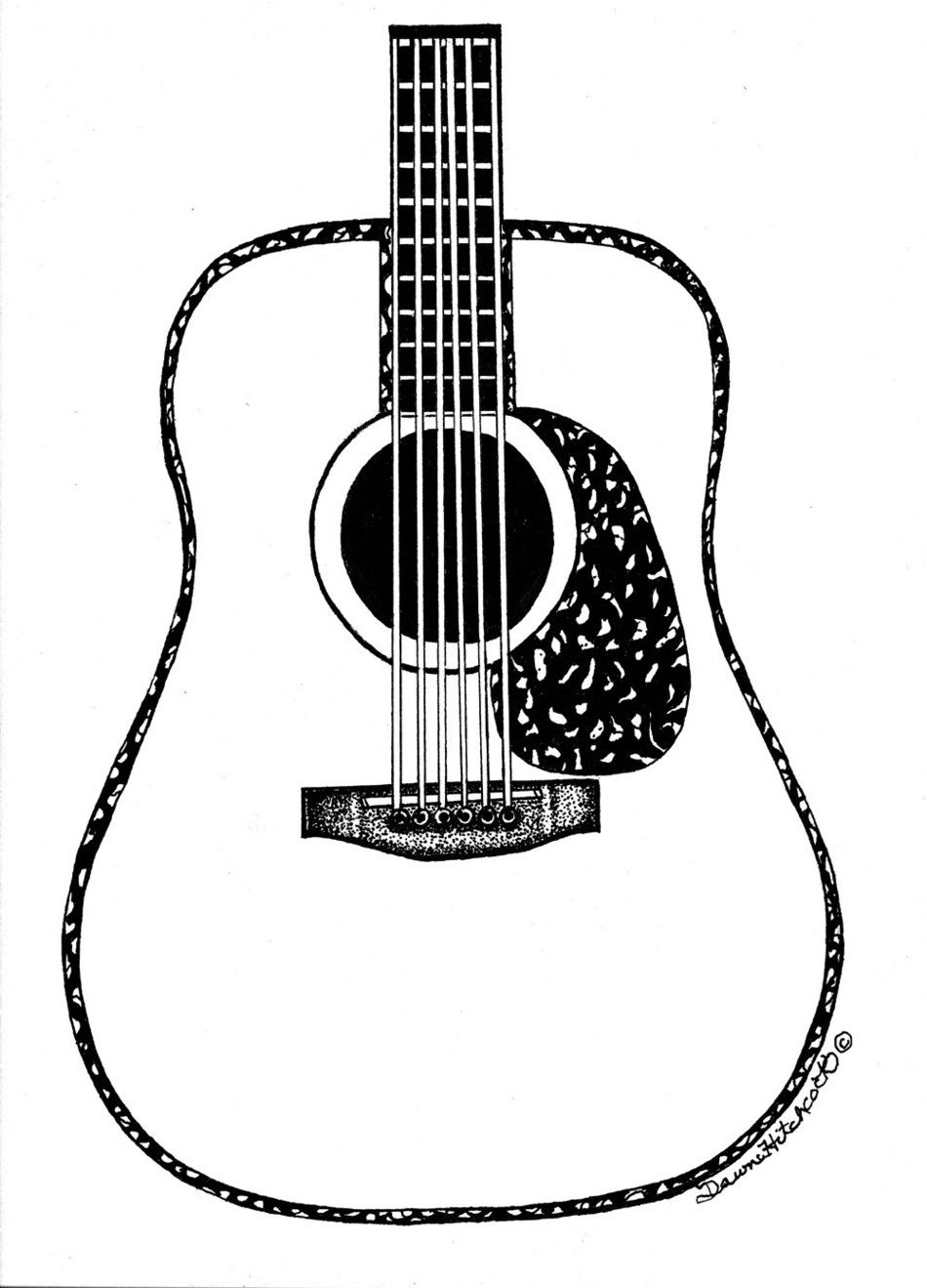 Guitar line drawing clipart free to use clip art