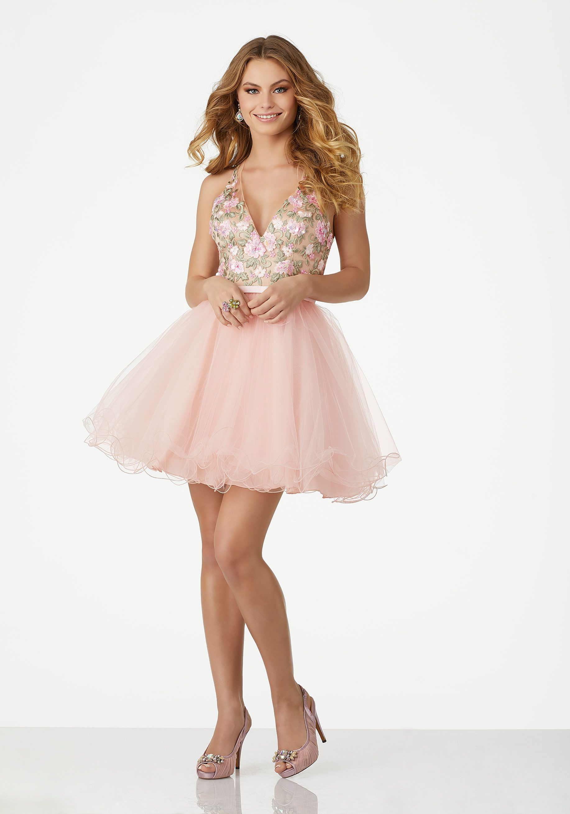 Two-Piece Prom Dress with Floral Embroidered Off-the-Shoulder Bodice ...
