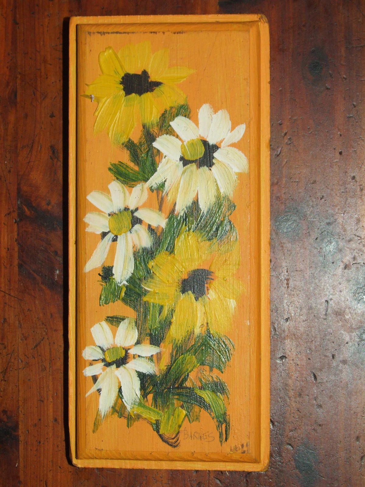 Vintage 70\'s Thick Rustic Folk Art Hand Painted Yellow and White ...