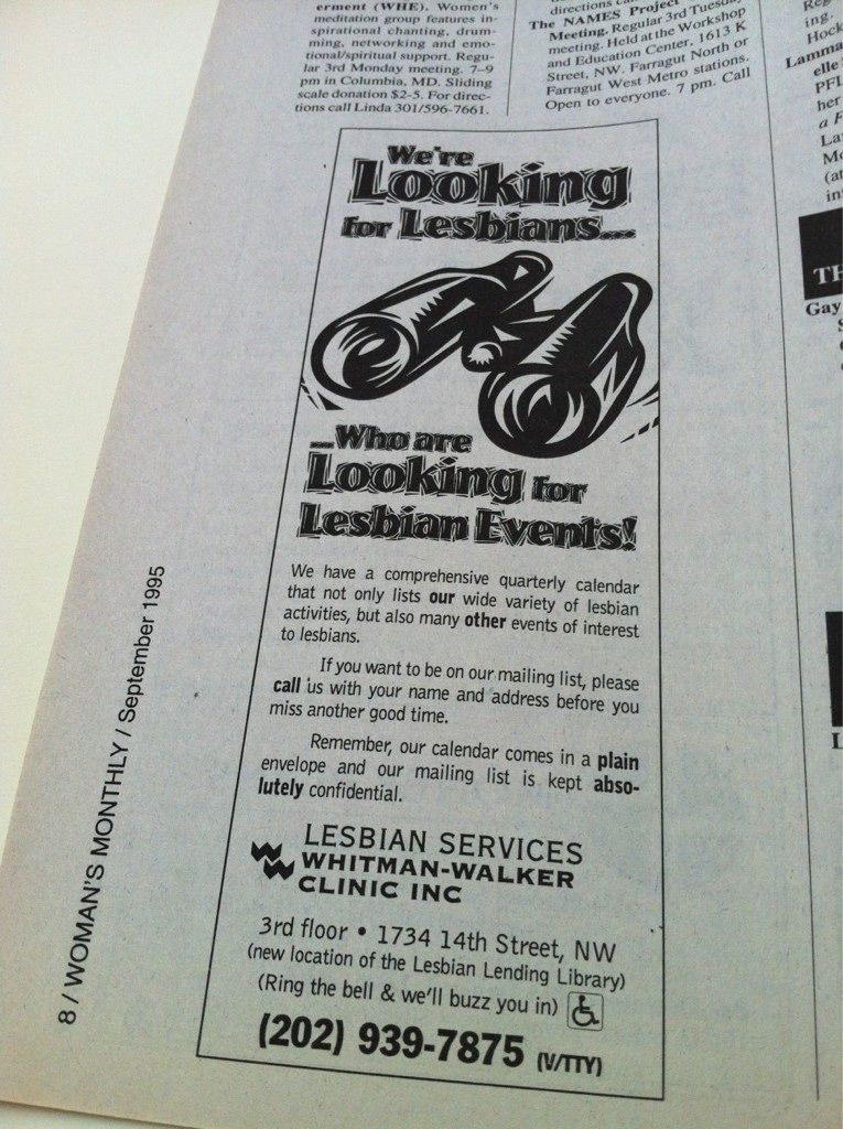An old ad for the lesbian services program health care