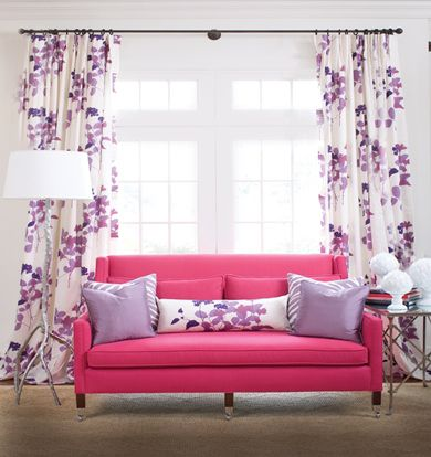 this pink sofa brightens up the living room | Living Room ...