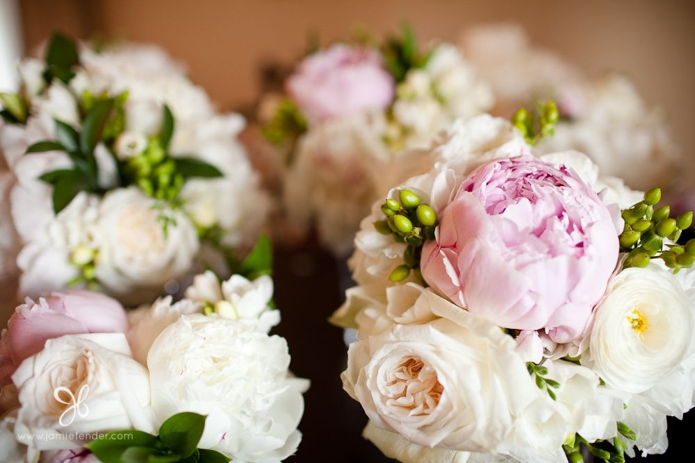 Bouquets Made Of White Peonies Pink Hyperi Berries Roses Green