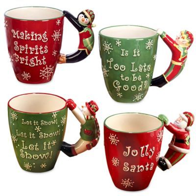 Novelty penguin or Santa Christmas Red Cup Mug Holder Coffee Tea Xmas Eve Gift