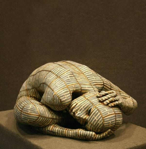 Italian artist Rabarama creates human sculptures in distress, covering their skins in symbolic patterns. Vulnerable beauty. From Art of Jonty Hurwitz