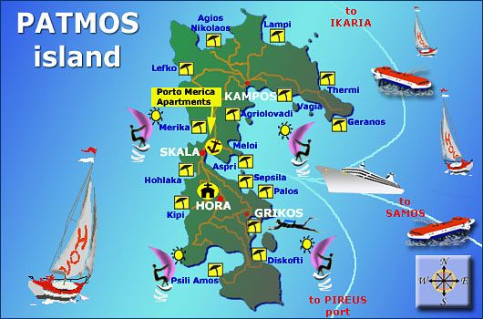 Patmos Island Map Greek Isles Island Map Greek Isles Island