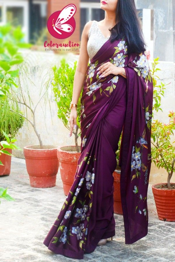 Wine Hand-painted Satin Floral Dupion Taping Saree