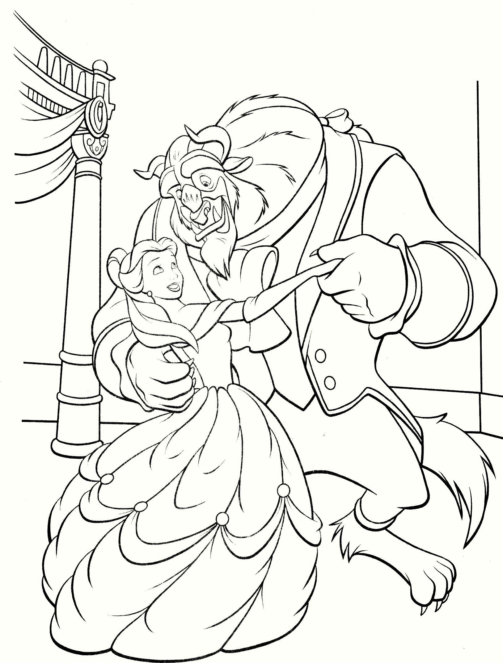 Pin de Karen Ho en 15 Beauty and The Beast Coloring Pages   Pinterest