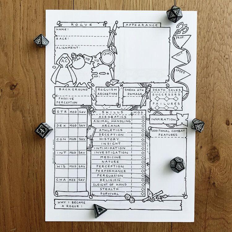 5e rogue class character sheet penflower ink in 2020