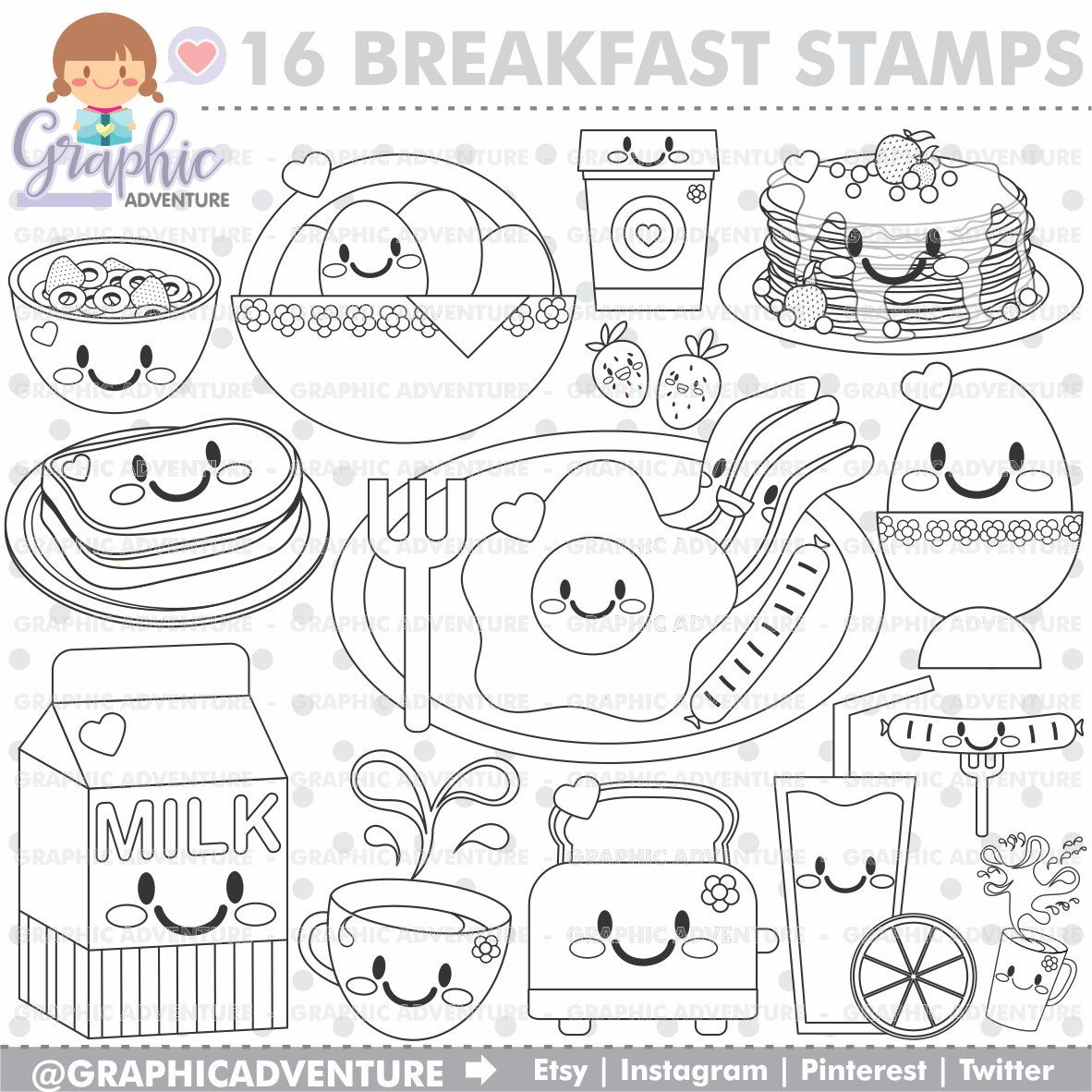 Breakfast Stamp Commercial Use Digi Stamp Digital Image Party Digistamp Breakfast Coloring Page Breakfast Graphi Digi Stamp Digital Stamps Coloring Pages