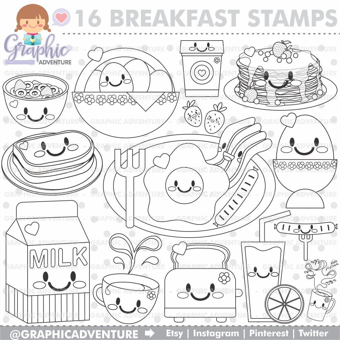 Breakfast Stamp, COMMERCIAL USE, Digi Stamp, Digital Image