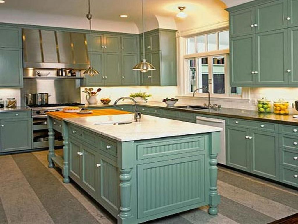 Kitchen Teal Kitchen Cabinet With White Wall Color For