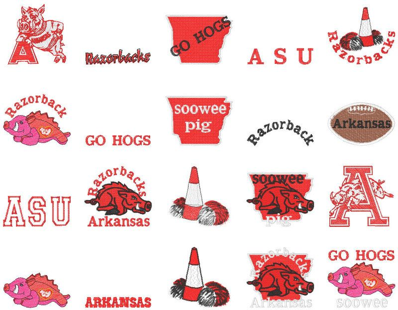 Arkansas Razorback Hogs Sports Embroidery Designs Embroidery