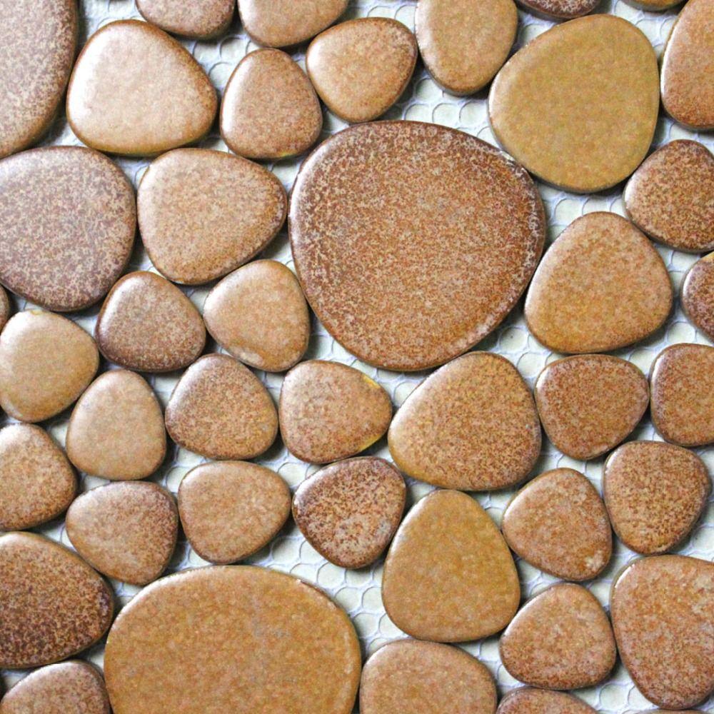 Free Shipping] Buy Best khaki porcelain tile pebble mosaic kitchen ...