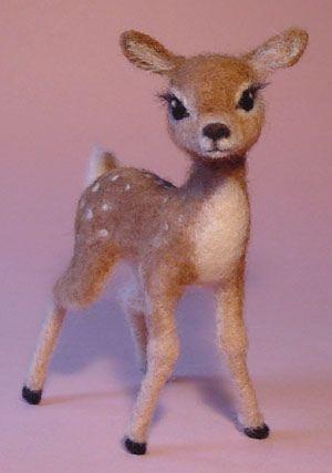 Cute felted Fawn Mini needle felt deer figure Handmade