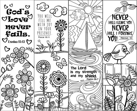 Sunday School Book Cover Page ~ Set of bible verse coloring bookmarks for kids