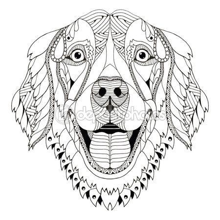 Golden retriever dog zentangle stylized head, freehand pencil, hand ...