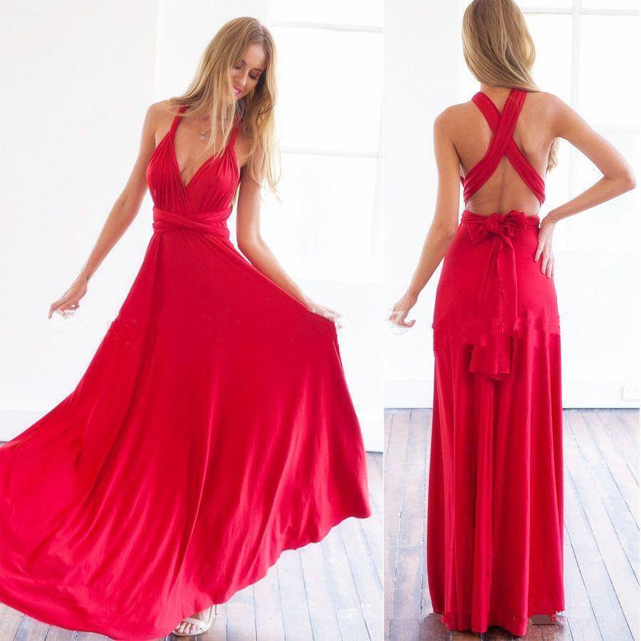 Lq infinity style multi wrap convertible long dress red multi