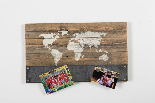 Reclaimed wood world map with magnet holder 40% OFF  This item is made from 100% reclaimed wood. We sand the wood to bring out the beautiful undercoat. Perfect metal bottom for magnets!