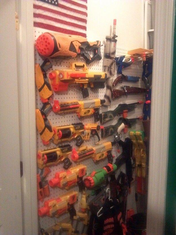 Nerf Storage On Closet Wall Organize It Nerf Gun