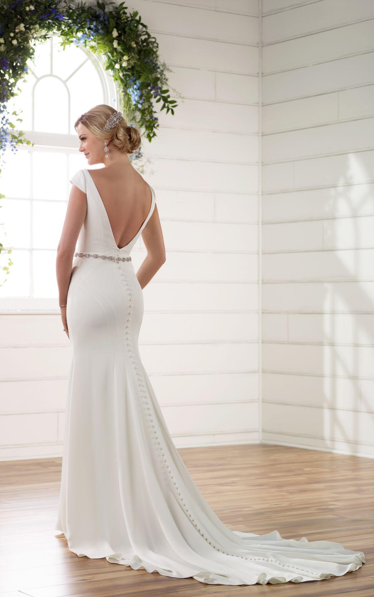 Boat neck wedding dress with cap sleeves vback boat