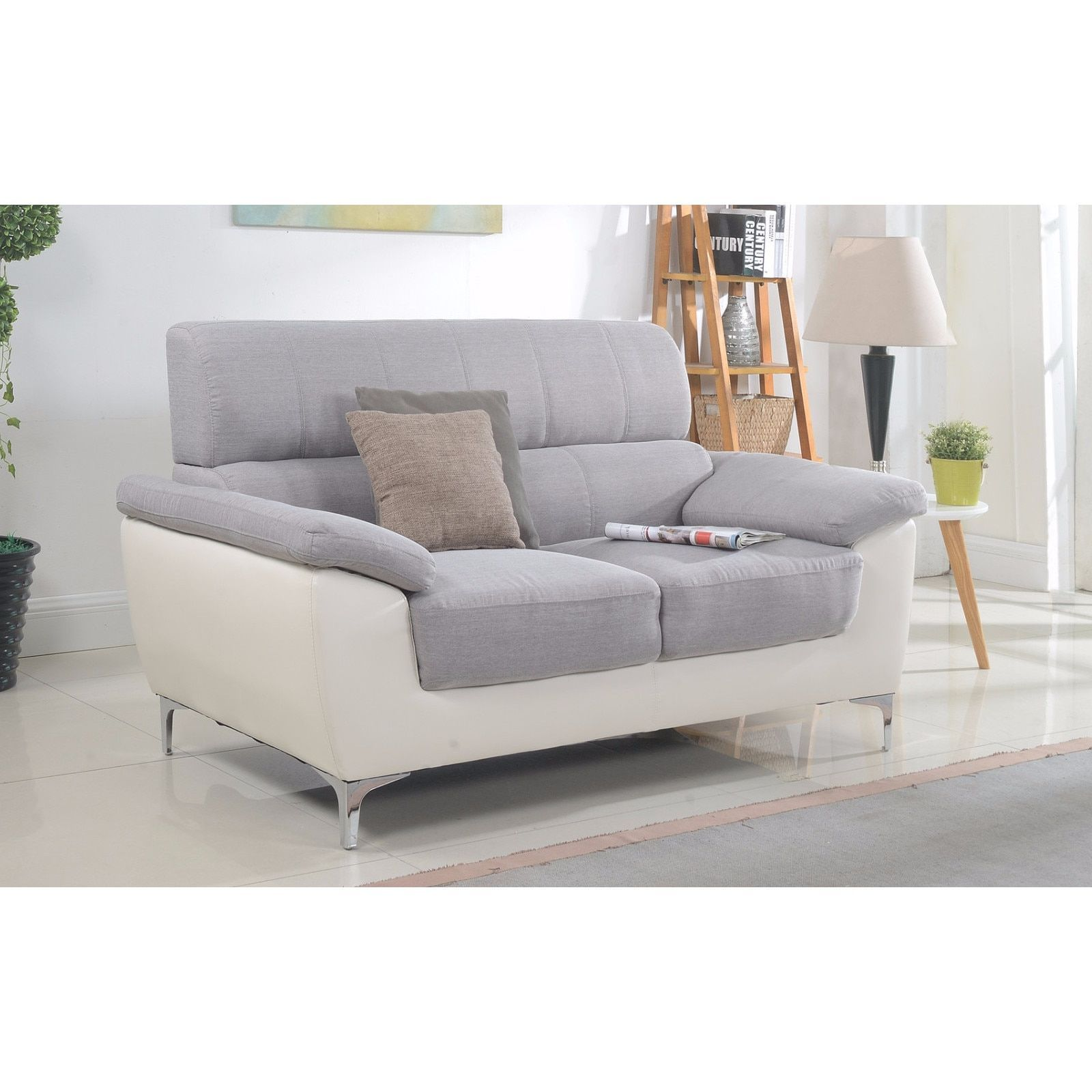 Madison modern two tone fabric and bonded leather living room loveseat light grey loveseat