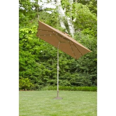 Hampton Bay 9 Ft. Rectangular Solar Powered Patio Umbrella In  Taupe 50400146
