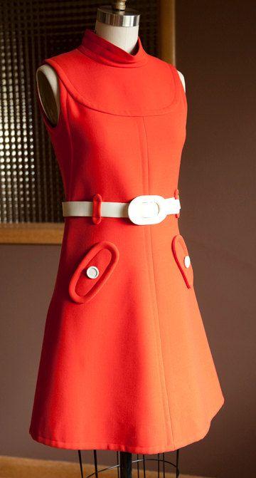 Amazing Vintage Courreges Dress 1965 Mod Orange Wool With White Belt Couture