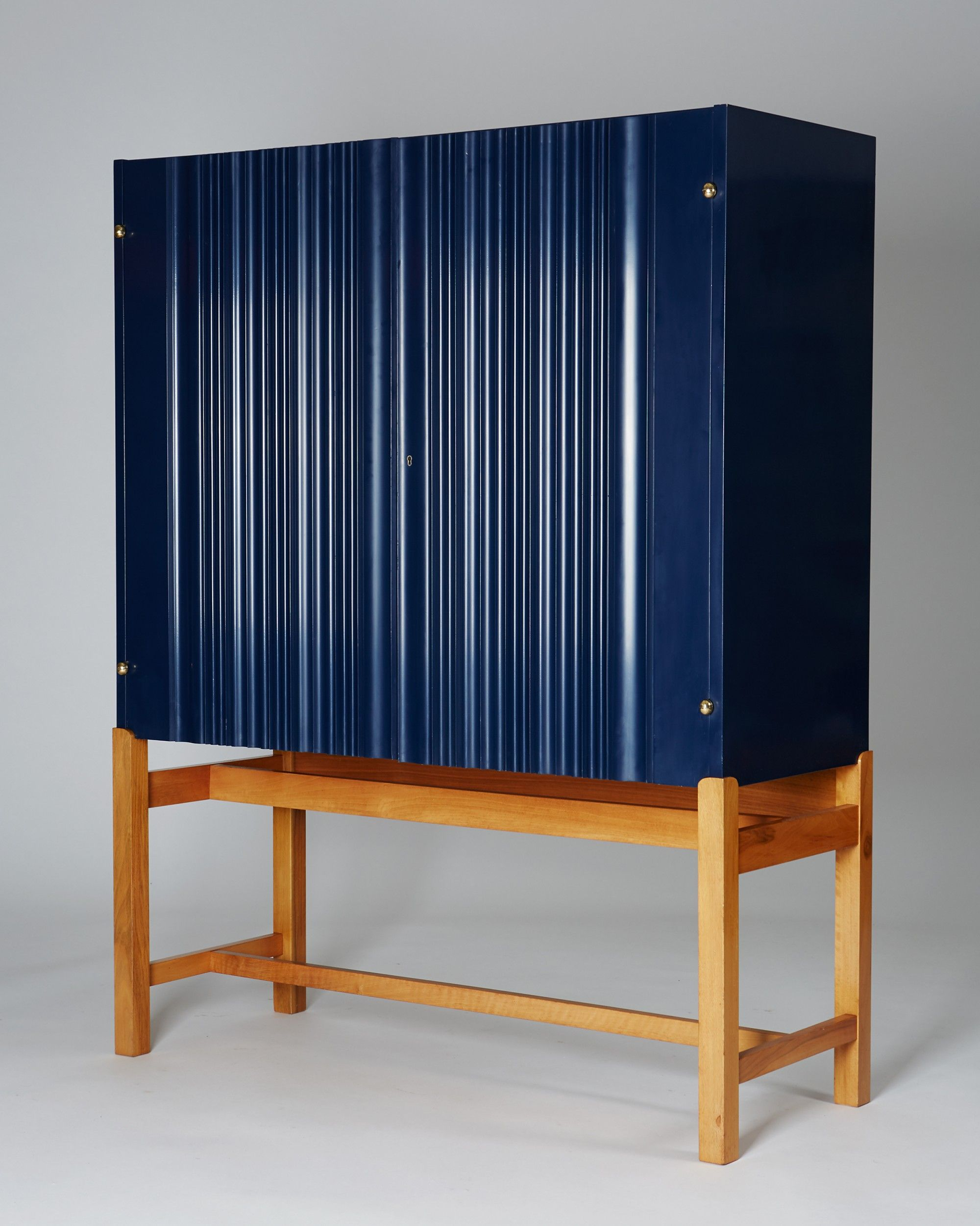 Josef Frank Lacquered Wood Walnut And Brass Cabinet For