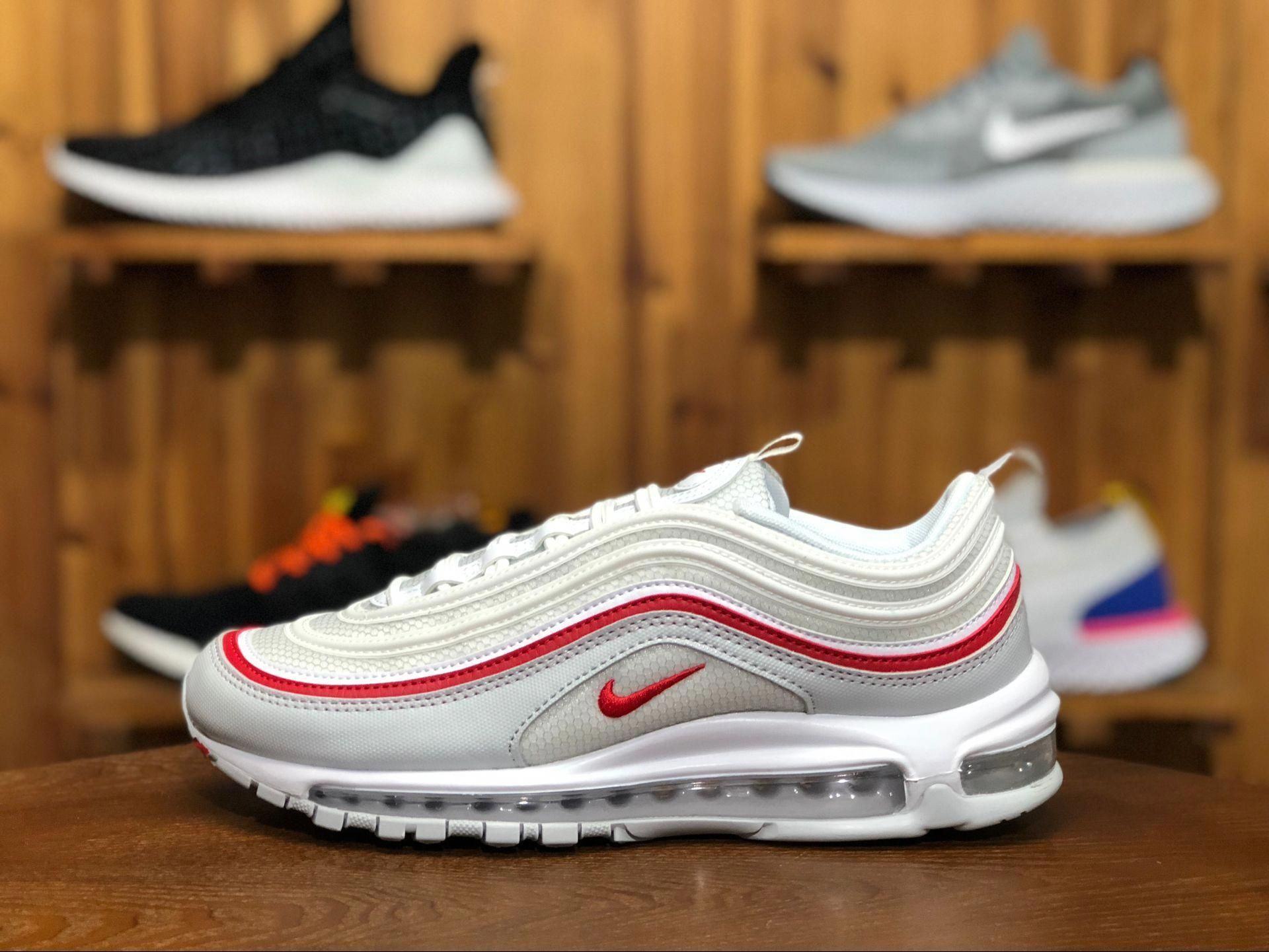 0df098e00c Nike Air Max 97 University Red Color:White/University Red Style Code: AR5531 -002 The all-white colourway is contrasted by a red coloured stripe which  ...