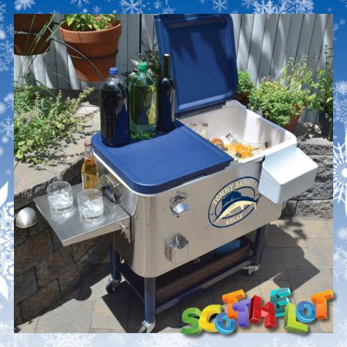 Portable Outdoor Patio Garden BBQ Party Wine Beer Cooler Cool Ice Box On  Wheels, £