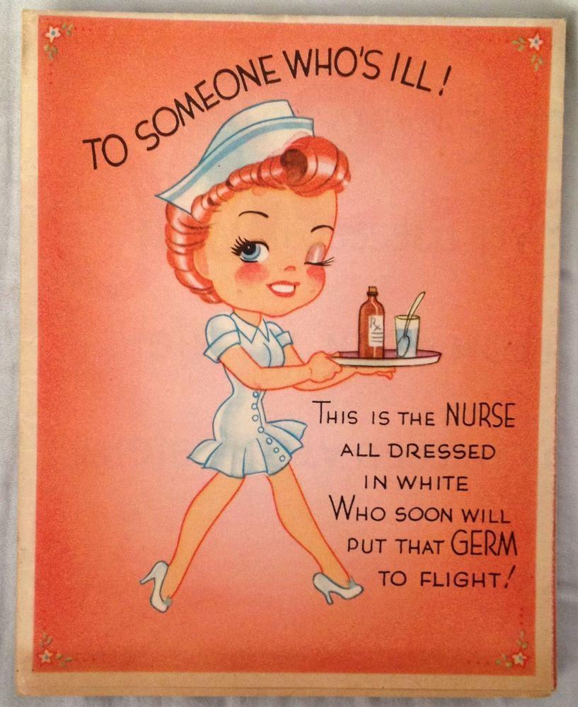 Vintage Wedding Card Unused Greeting Card 1960s 1950s: Vintage 1950s Get Well Greeting Card