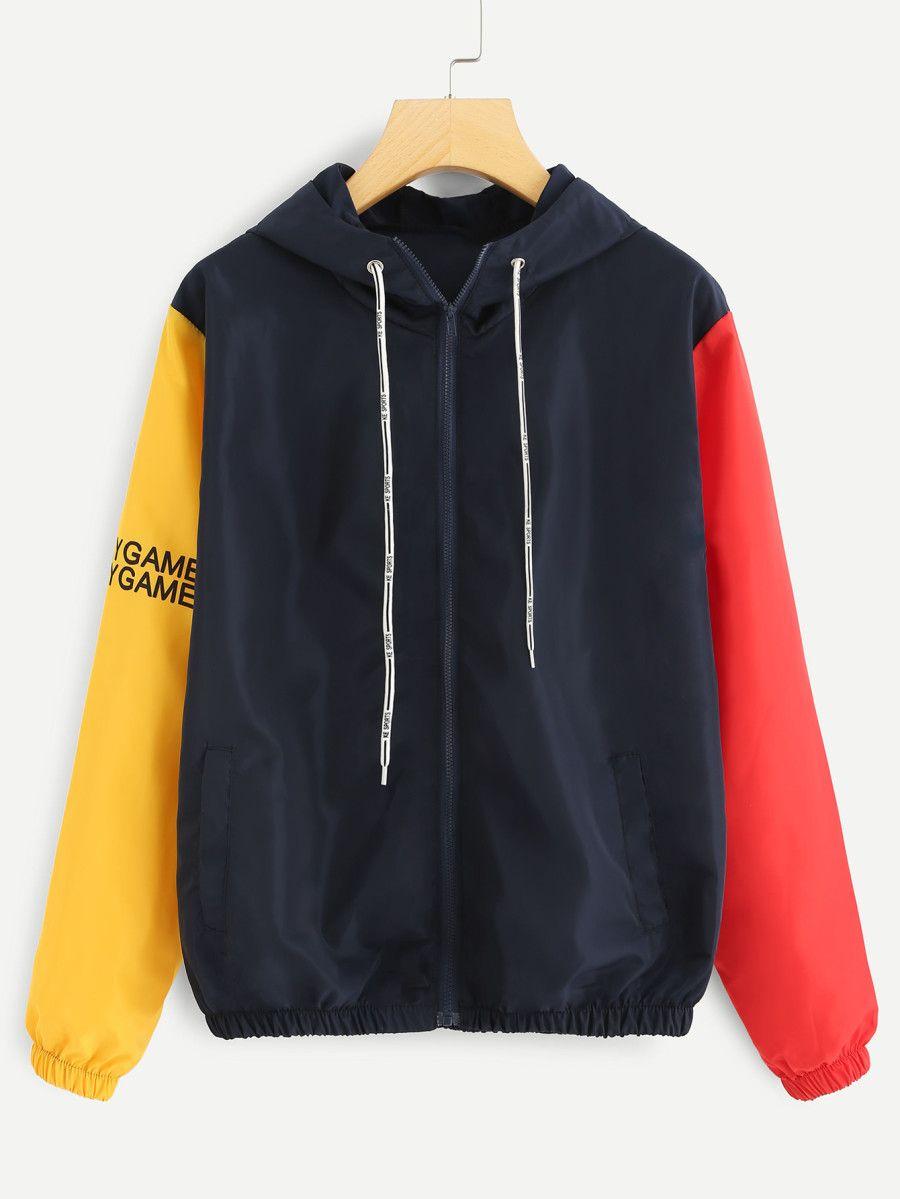 Shop Contrast Sleeve Slogan Print Jacket online  SheIn