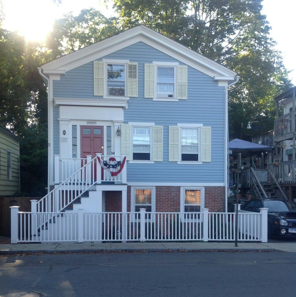 Small House Love Our First Home New Paint Job Dockside Blue Sherwin Williams Restoration Ivory Accent House Exterior House Painting Exterior House Colors