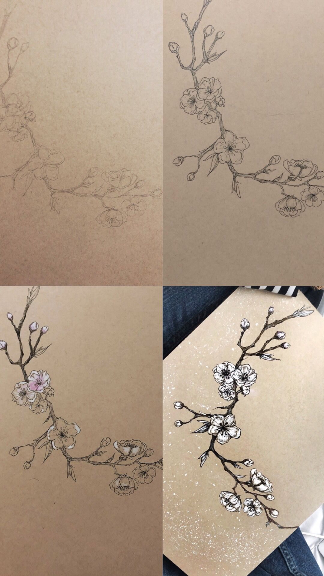 Cherry Blossom Tutorial Cherry Blossom Drawing Tree Sketches Tree Drawing