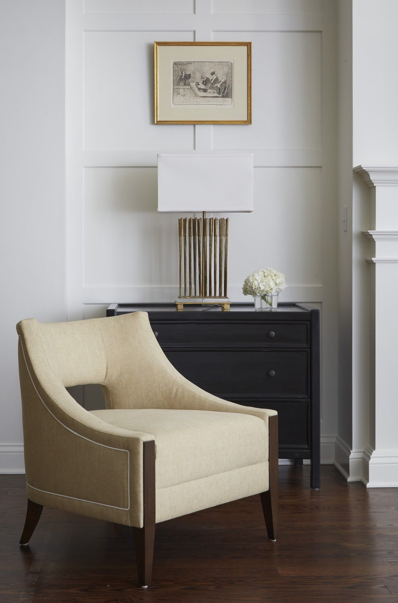 Powder Room By Amy Kartheiser Design: Detail Shot Of Millwork, Lamp, Chair And Chest Vignette