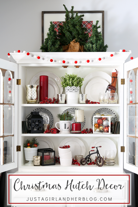 Christmas Hutch Decor Dining Room